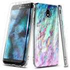For Samsung Galaxy J3 Orbit/Star/Achieve Case Soft Marble Cover + Tempered Glass