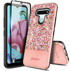 For Lg Stylo 6 Case Glitter Bling Phone Cover + Tempered Glass Protector
