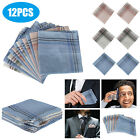 Mens Handkerchiefs 100% Cotton Classic Hankies 6/12PCS Hankerchief Pocket Random