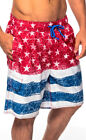 Star Spangled American Flag Patriotic Board Swim Shorts Bathing Suit MN-208-RED