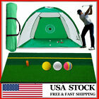 10*7*6ft Golf Practice Net Golfer Driving Hitting Aid Patio Range Cage+Mat+3Ball