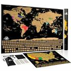 Scratch Off World Map: Large Travel Wall Poster Maps with Country Flags and Land