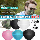 Separate Nose Face Mask Carbon Filters Pads Air Purify Adult Kid's Protection
