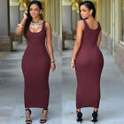 Sexy Women Bodycon Maxi Long Sleeveless Pure Dress Cocktail Pencil Party Dresses