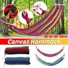 Portable Canvas Hammock Outdoor Picnic Wood Swing Camping Hanging Hiking Bed