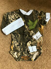 Mossy Oak Camo Camouflage 3PC Baby Infant 3/6 MONTHS Set Boys Blue trim