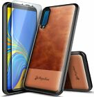 For Samsung Galaxy A7 (2018) Case Shockproof Leather Cover + Tempered Glass
