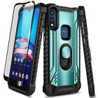 For Motorola Moto E 2020 Phone Case Magnetic Ring Stand Cover + Tempered Glass