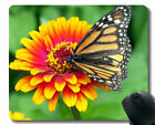 Gaming MousePad Custom,Monarch Butterfly Flower Zinnia Orange Pink Red MousePads