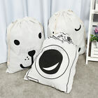 Drawstring Storage Bag Clothes Canvas Laundry Bag Hamper Toys Travel Case   +