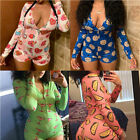 Women's Sexy Bodycon V Neck Long Sleeve Jumpsuit Shorts Romper Leotard Bodysuit