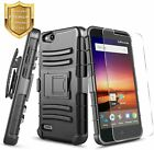 For ZTE Blade Vantage Case, Holster Belt Clip Cover + Tempered Glass Protector