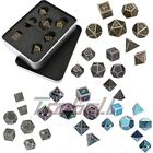 7Pcs Set Alloy Metal Polyhedral Dice w/ Box Role Playing Board DND RPG MTG
