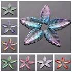 10pcs 10x24mm Leaf Crystal Glass Loose Pendants Beads For Jewelry Findings DIY