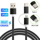 2 in 1 Micro USB & USB Type C Charging Cable for Android Samsung Galaxy S9 S8 S7