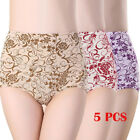 5 Pack Women Underwear Full Coverage Cotton Ladies High Rise Briefs Panties Plus