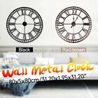 31'' Retro Style Wall Clock Big Roman Numerals Giant Open Face Metal Home