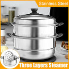 3 Tier Layer Stainless Steel Steamer Set Pan Soup Pot Steam Cooker With Lid 1