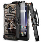 For Alcatel Insight /TCL A1 Phone Case Holster Belt Clip Cover + Tempered Glass
