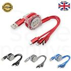 3 in 1 Fast Charging Cable Multi USB Charger 2.4A Type C Micro iPhone Android UK