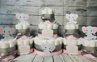 3 Tier Diaper Cake and sets - Little Peanut Elephant Theme - Pink and Gray