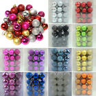 24Pcs Christmas Party Baubles Ball Glitter Xmas Tree Hanging Ornament Decor Gold