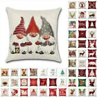 "18"" Uk Christmas Xmas Cushion Cover Pillow Case Sofa Home Decor Reindeer Snow"