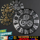 Retro Large Round Wooden Gold Wall Clock Steampunk Skeleton Wall Clock 40cm/45cm