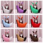 27.5  Faux Fur Furry Tail and Ears Set Halloween Christmas Party Cosplay Costume