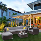4/6/7 Pcs Patio Pe Wicker Rattan Corner Sofa Sectional Set Home Garden Furniture