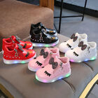 Kid Baby Infant Girl Crystal Bowknot LED Luminous Boot Sport Shoes Sneakers 1-6Y