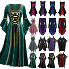 Womens Vintage Gothic Punk Lace Up Victorian Medieval Witch Fancy Dress Cos /