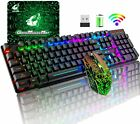 Wireless Gaming Keyboard Mouse Combo For Pc Ps4 Rainbow Led Backlit Rechargeable