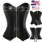 Steampunk Leather Corset Bustier Tops Zip Sexy Overbust Waist Training Shaper US