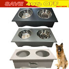 Double Bowls Raised Stand For Cat Pet Dog Stainless Steel Feeder Food Bowl NEW