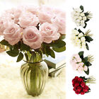 18 Heads Silk Rose Artificial Flowers Fake Bouquet Wedding Home Party Decor