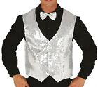 Mens Silver Sparkly Sequin Waistcoat Christmas Disco Party Fancy Dress Costume
