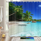 Reclining Coconut Palm Beach Shower Curtain Bathroom Decor Fabric 12hooks 71in