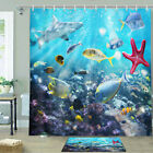 Coral Starfish And Shark Shower Curtain Bathroom Decor Fabric 12hooks 71in