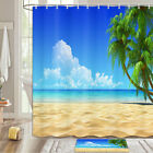Coastal Coconut Beach Shower Curtain Bathroom Decor Fabric 12hooks 71in