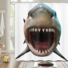 Shark With Wide Mouth Shower Curtain Bathroom Decor Fabric 12hooks 71in