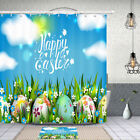 Happy Easter With Colored Eggs Shower Curtain Bathroom Decor Fabric 12hooks 71in