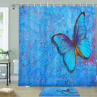 Blue Butterfly Shower Curtain Bathroom Decor Fabric 12hooks 71in