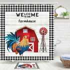 Country Farm Rooster Shower Curtain Bathroom Decor Fabric 12hooks 71in
