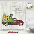 Pickup Truck Sunflower Shower Curtain Bathroom Decor Fabric 12hooks 71in