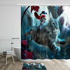 Handsome Mouse Riding A Cat Shower Curtain Bathroom Decor Fabric 12hooks 71in