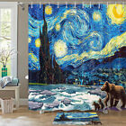 Starry Sky And Bear Shower Curtain Bathroom Decor Fabric 12hooks 71in