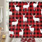 Red Square And Deer Shower Curtain Bathroom Decor Fabric 12hooks 71in