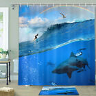 Shark and Surfer Shower Curtain Bathroom Decor Fabric 12hooks 71in