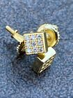 0.2ct REAL Natural Diamond Mens Ladies Earrings Iced Small 5mm Square Gold Studs